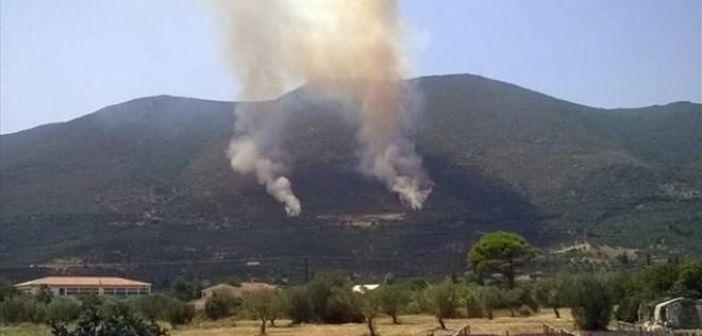 Πυρκαγιά στον Ταξιάρχη Θέρμου – Μάχη και από αέρος