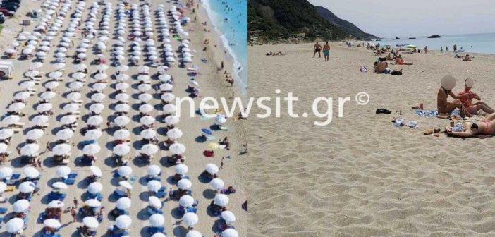 """Πρωτόγνωρες εικόνες – Χωρίς ξαπλώστρες η διάσημη παραλία """"Κάθισμα"""" της Λευκάδας"""