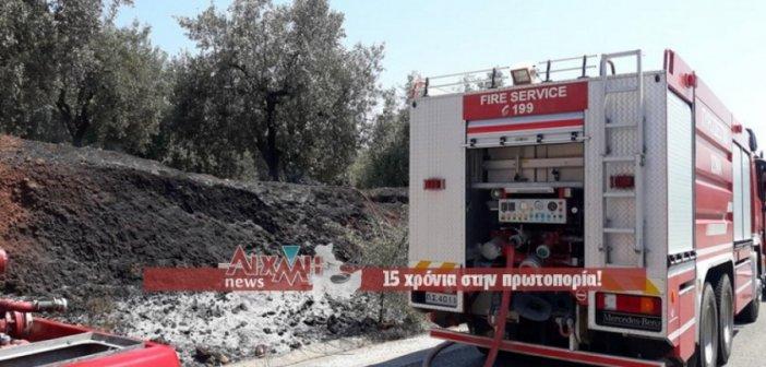 Φωτιά στην Στάμνα κοντά στη σήραγγα (ΦΩΤΟ)