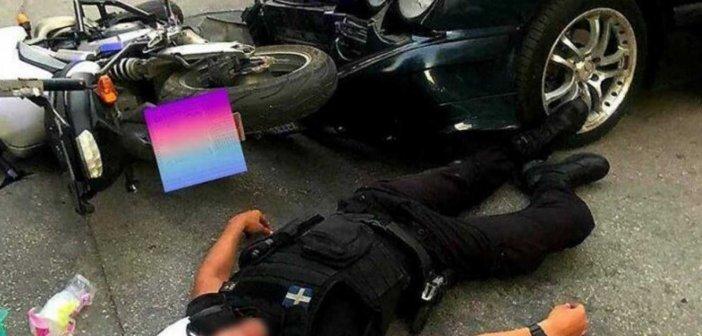 Λάρισα: Η στιγμή που αστυνομικός τραυματίζεται σε τροχαίο! Το λάθος που λίγο έλειψε να του στοιχίσει τη ζωή (ΦΩΤΟ)
