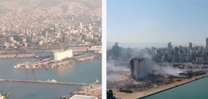 Η Βηρυτός πριν και μετά την φονική έκρηξη (VIDEO DRONE)
