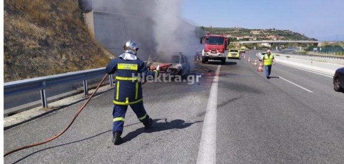 Φωτιά σε όχημα στην Εθνική Οδό – Ένας τραυματίας (ΦΩΤΟ)