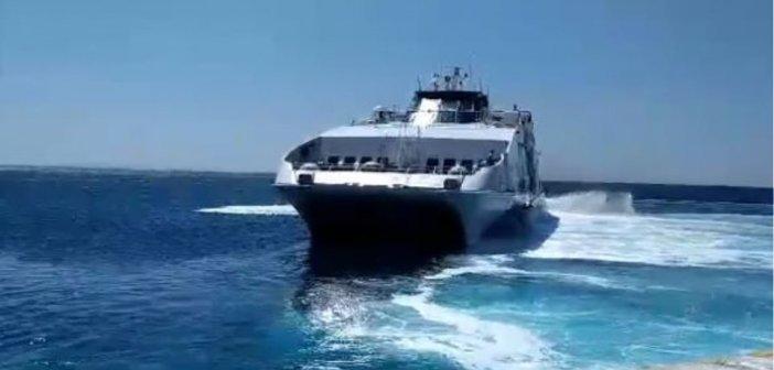 Το «SUPER JET» και ο καπετάνιος του υποκλίνονται στη Σίκινο (VIDEO)