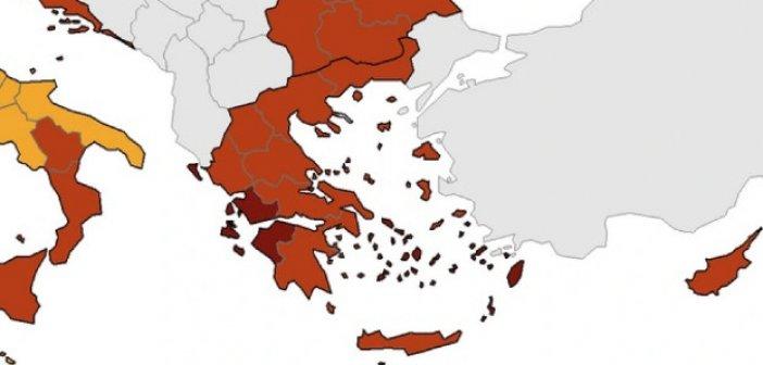 """Κορωνοϊός – Χάρτης ECDC: Στο """"βαθύ κόκκινο"""" η Αιτωλοακαρνανία"""